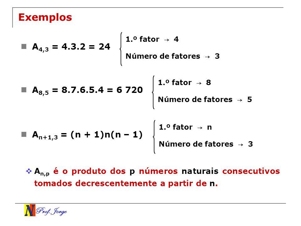 Exemplos1.º fator → 4. A4,3 = 4.3.2 = 24. Número de fatores → 3. 1.º fator → 8. A8,5 = 8.7.6.5.4 = 6 720.
