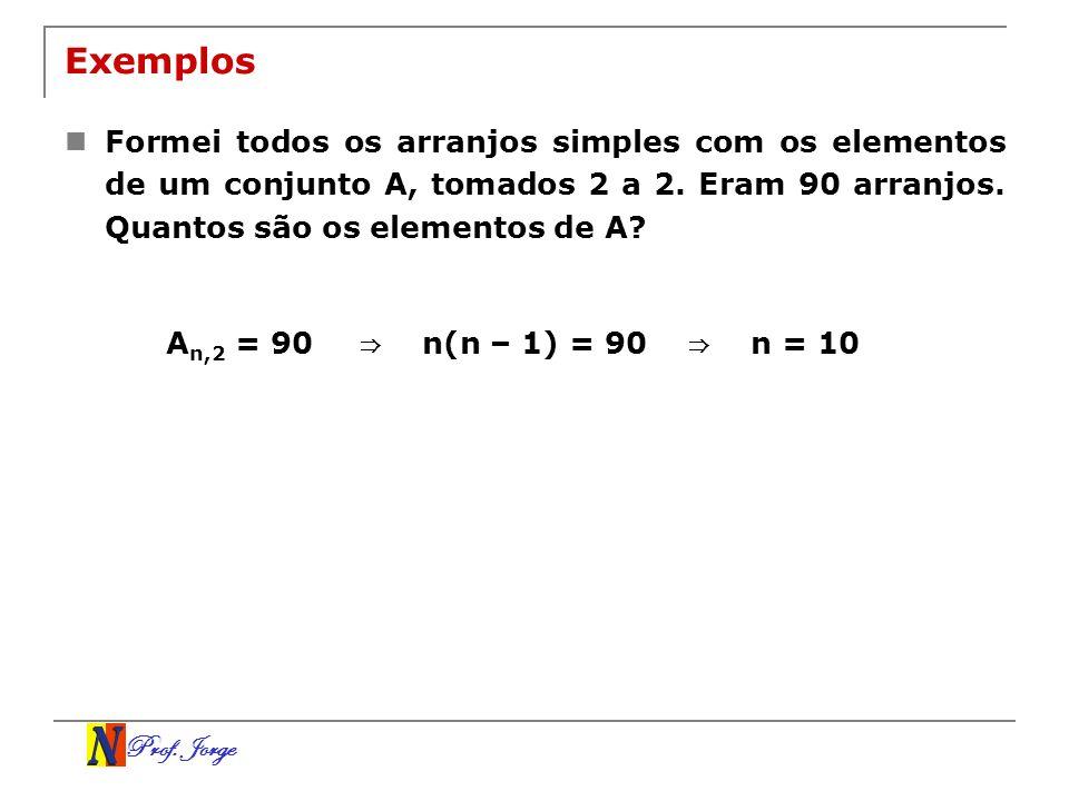 Exemplos Formei todos os arranjos simples com os elementos de um conjunto A, tomados 2 a 2. Eram 90 arranjos. Quantos são os elementos de A