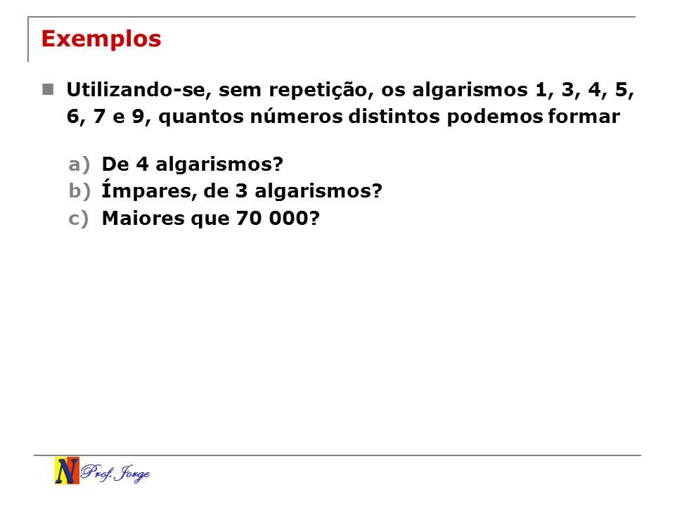 ExemplosUtilizando-se, sem repetição, os algarismos 1, 3, 4, 5, 6, 7 e 9, quantos números distintos podemos formar.