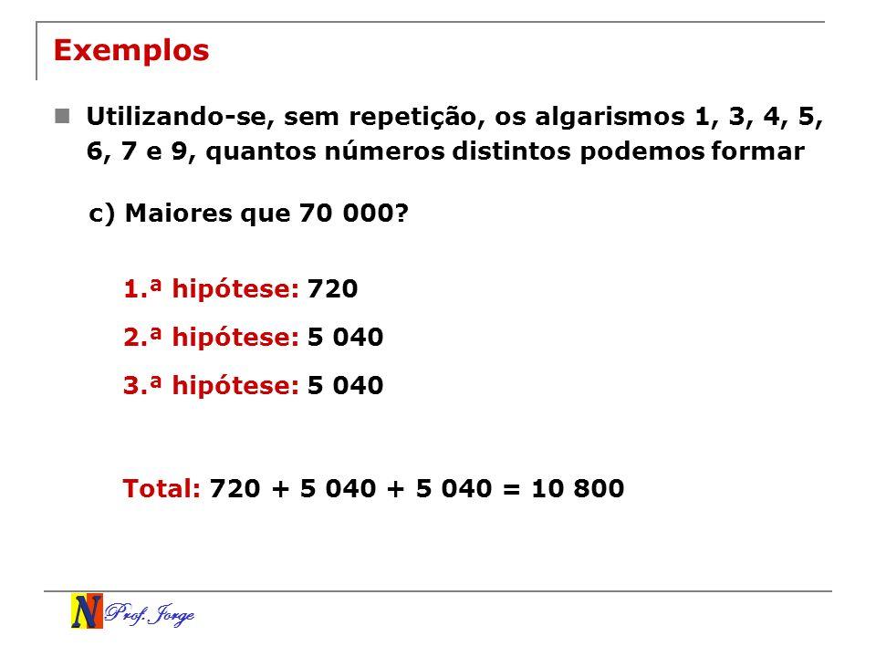 Exemplos Utilizando-se, sem repetição, os algarismos 1, 3, 4, 5, 6, 7 e 9, quantos números distintos podemos formar.