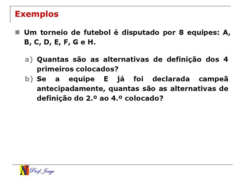 ExemplosUm torneio de futebol é disputado por 8 equipes: A, B, C, D, E, F, G e H.