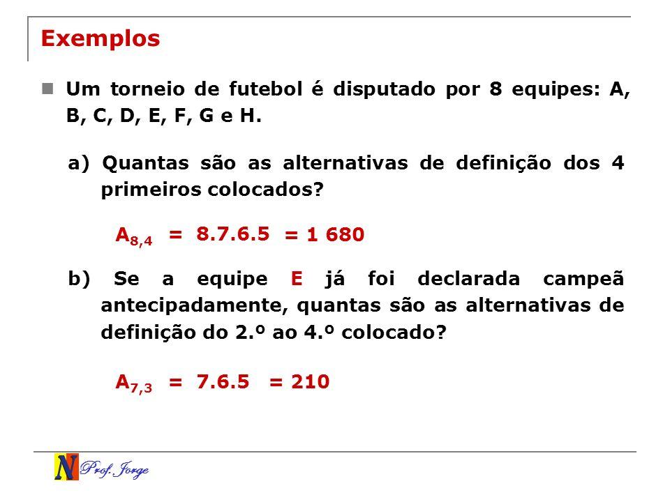 Exemplos Um torneio de futebol é disputado por 8 equipes: A, B, C, D, E, F, G e H.