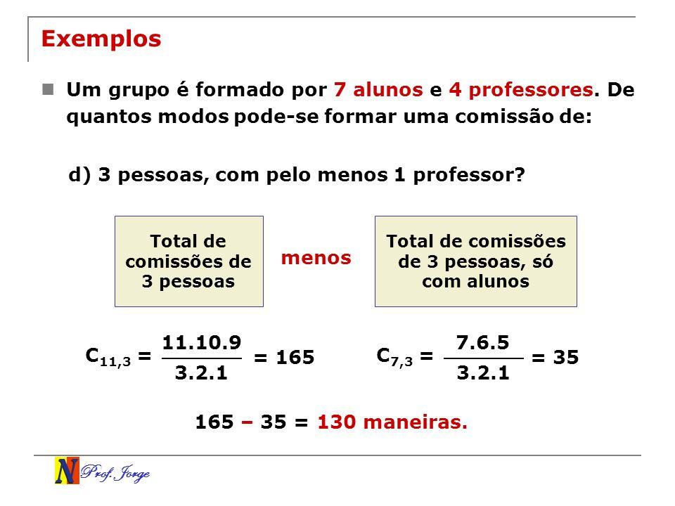 Exemplos Um grupo é formado por 7 alunos e 4 professores. De quantos modos pode-se formar uma comissão de:
