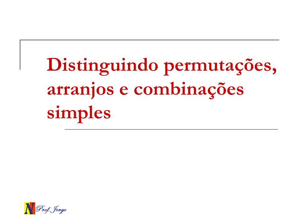 Distinguindo permutações, arranjos e combinações simples