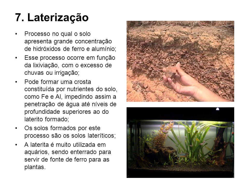 7. LaterizaçãoProcesso no qual o solo apresenta grande concentração de hidróxidos de ferro e alumínio;
