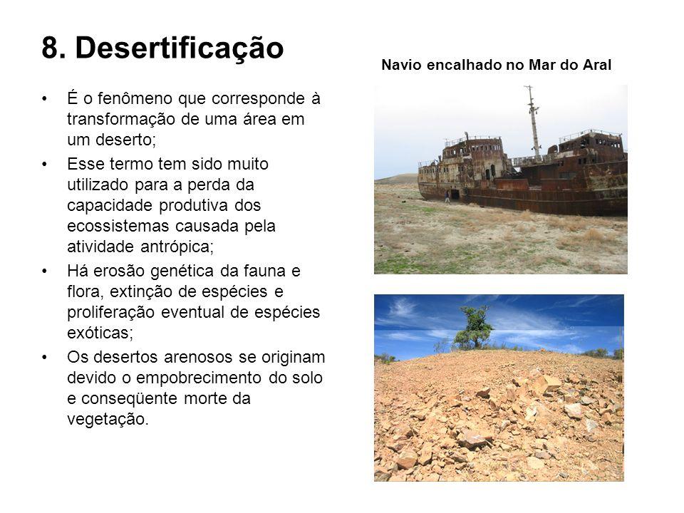 8. DesertificaçãoNavio encalhado no Mar do Aral. É o fenômeno que corresponde à transformação de uma área em um deserto;