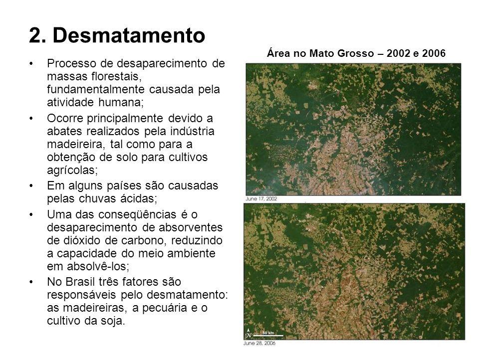 2. DesmatamentoÁrea no Mato Grosso – 2002 e 2006. Processo de desaparecimento de massas florestais, fundamentalmente causada pela atividade humana;