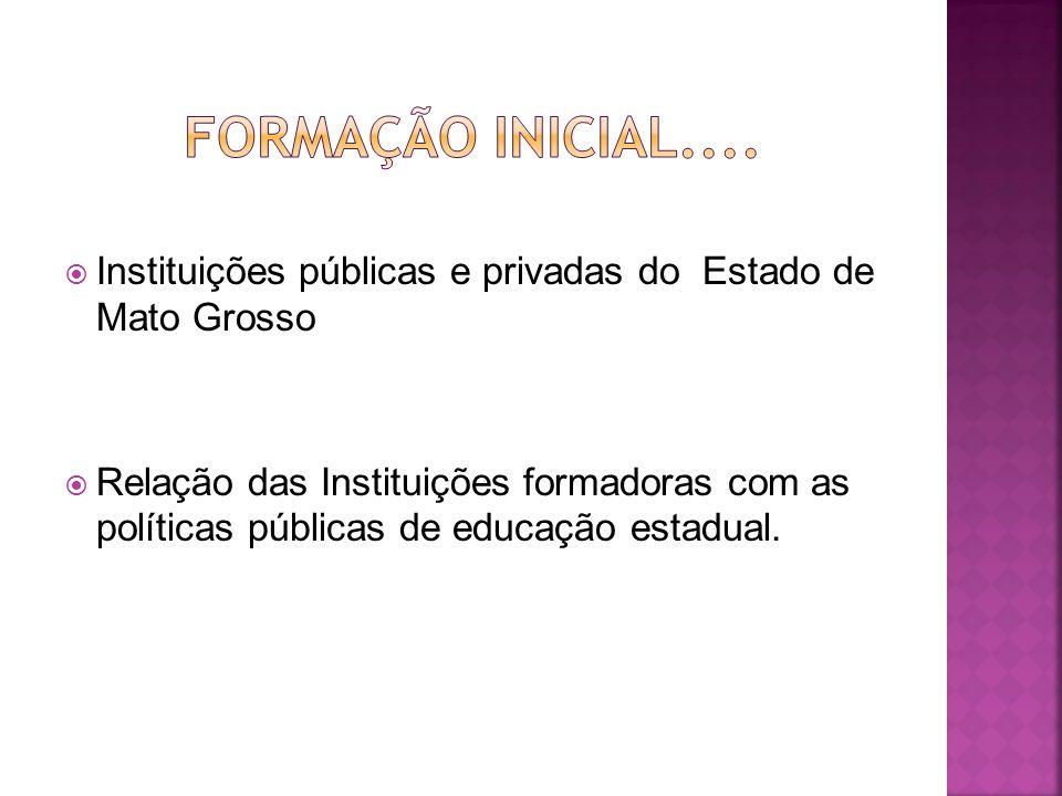 Formação Inicial.... Instituições públicas e privadas do Estado de Mato Grosso.