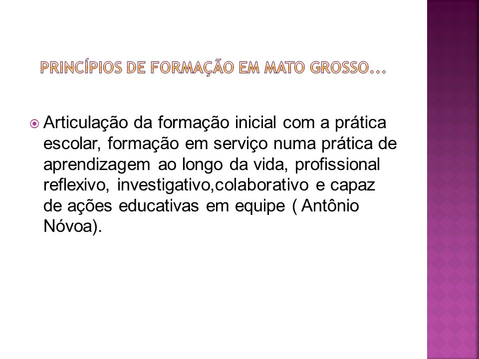 Princípios de formação em Mato Grosso...