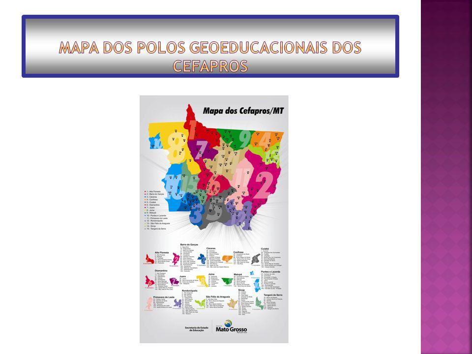 Mapa dos Polos Geoeducacionais dos Cefapros