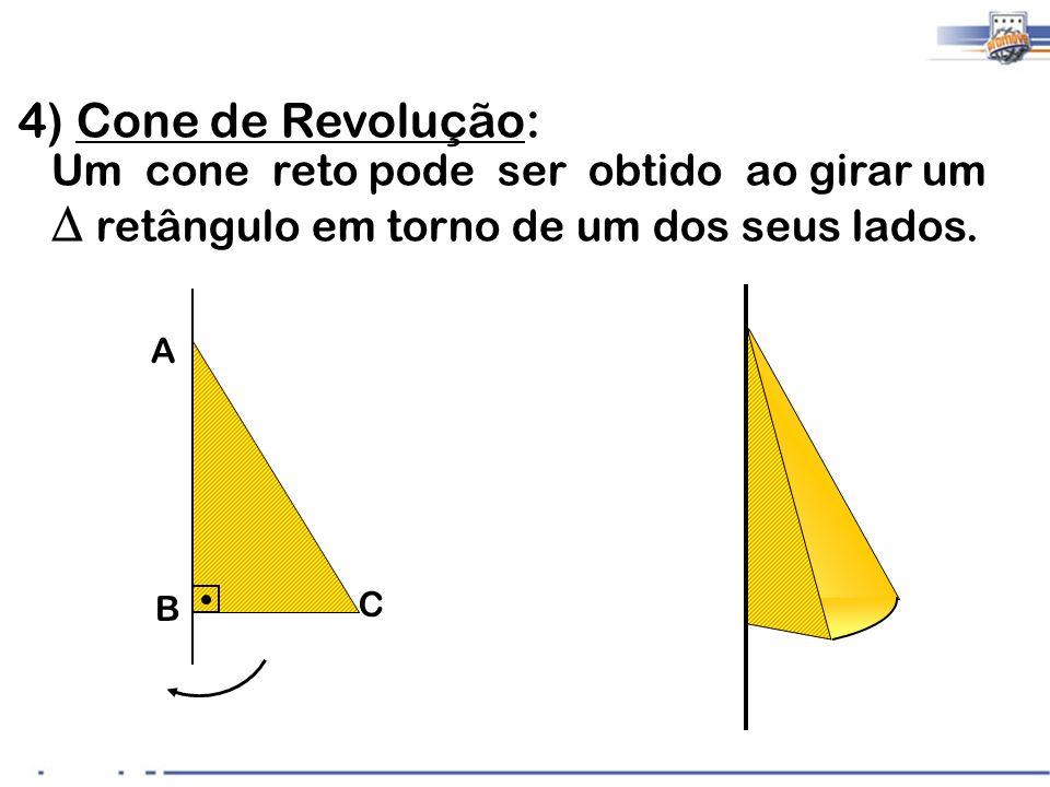 4 4) Cone de Revolução: Um cone reto pode ser obtido ao girar um