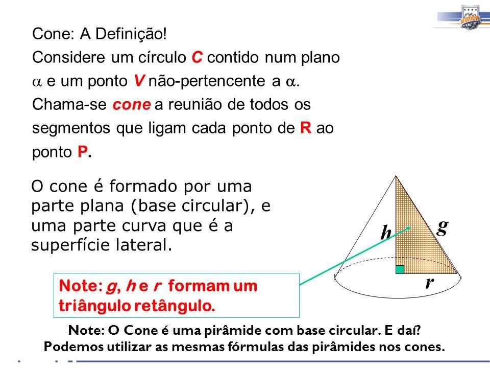 g h r Cone: A Definição! Considere um círculo C contido num plano