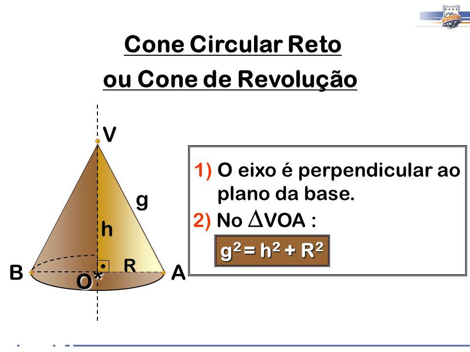 Cone Circular Reto ou Cone de Revolução V g h O* B A