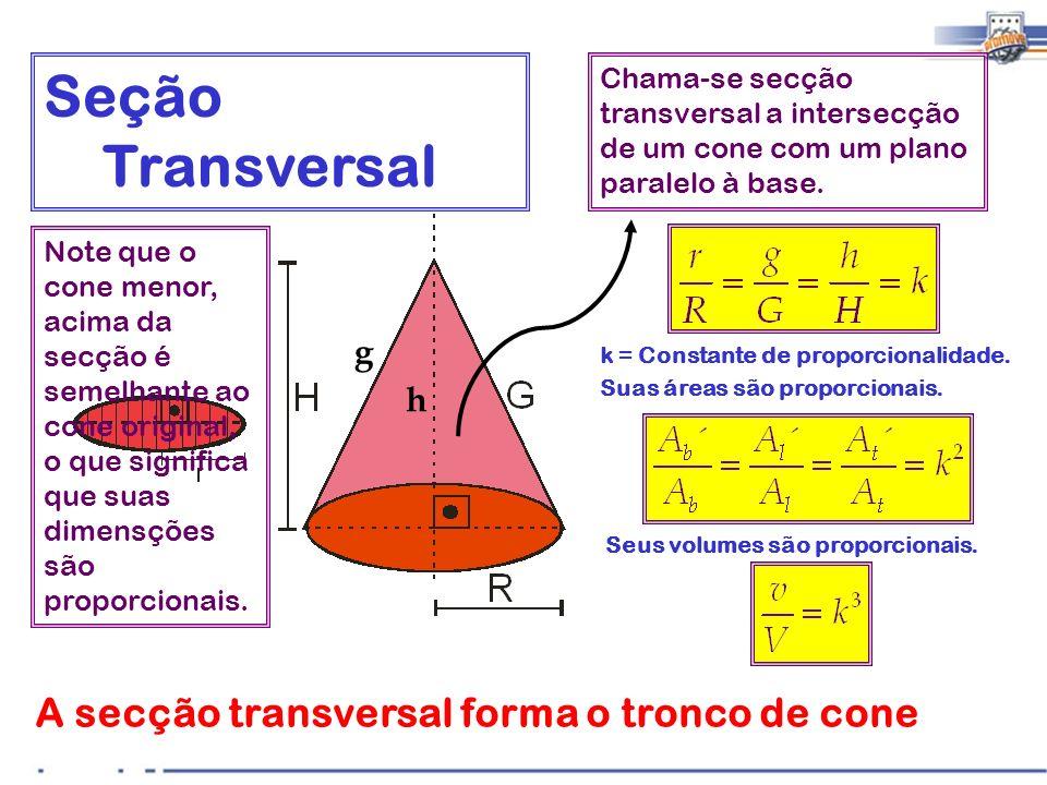 Seção Transversal A secção transversal forma o tronco de cone g h