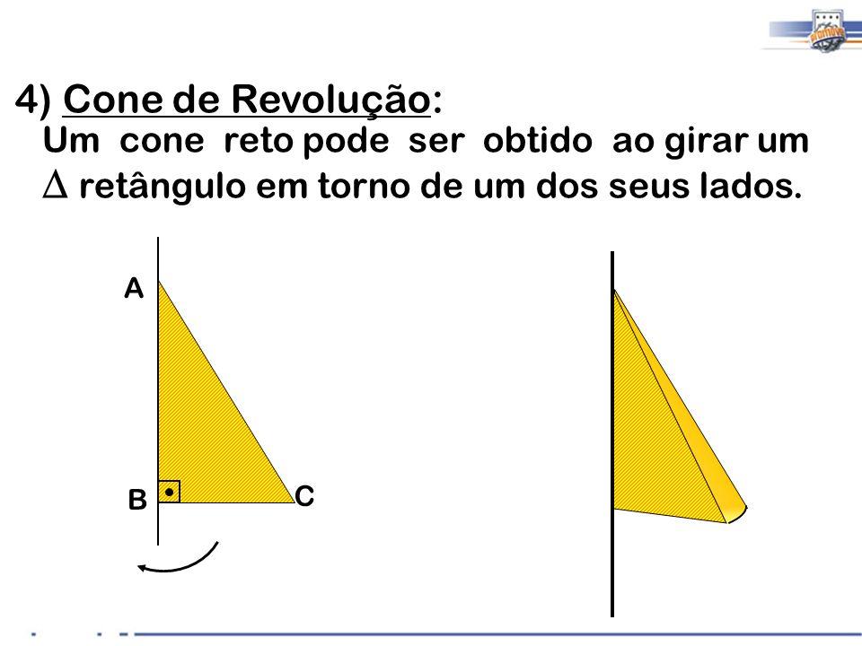 4) Cone de Revolução: Um cone reto pode ser obtido ao girar um