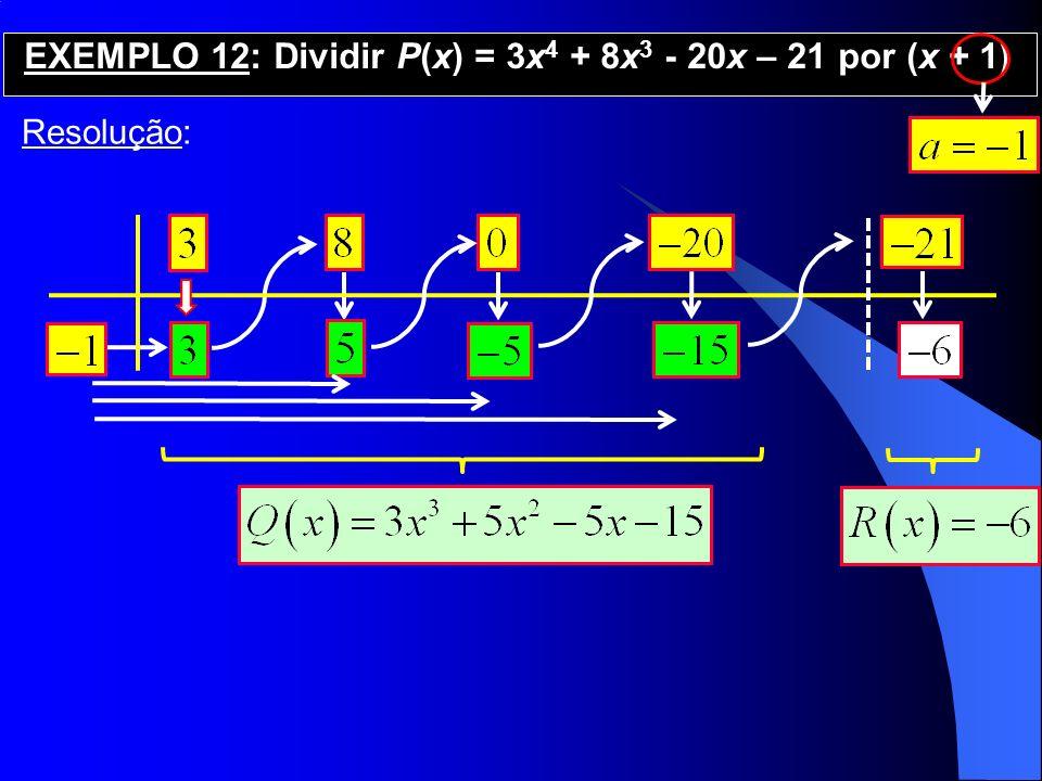 EXEMPLO 12: Dividir P(x) = 3x4 + 8x3 - 20x – 21 por (x + 1)
