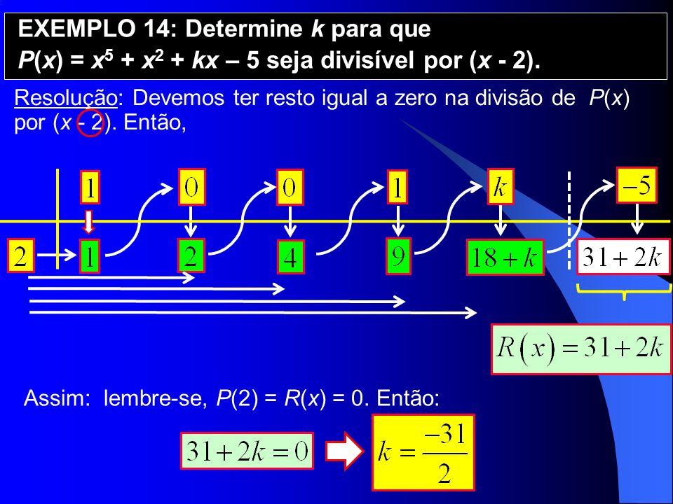 EXEMPLO 14: Determine k para que