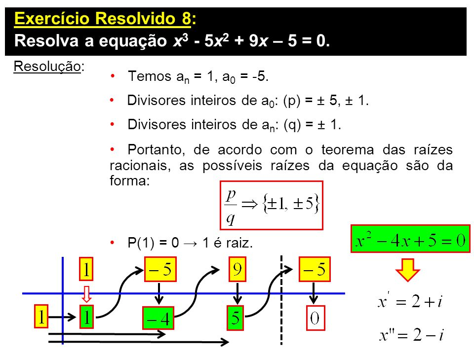 Resolva a equação x3 - 5x2 + 9x – 5 = 0.