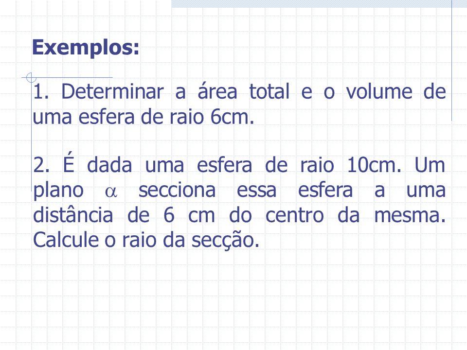 Exemplos: 1. Determinar a área total e o volume de uma esfera de raio 6cm.