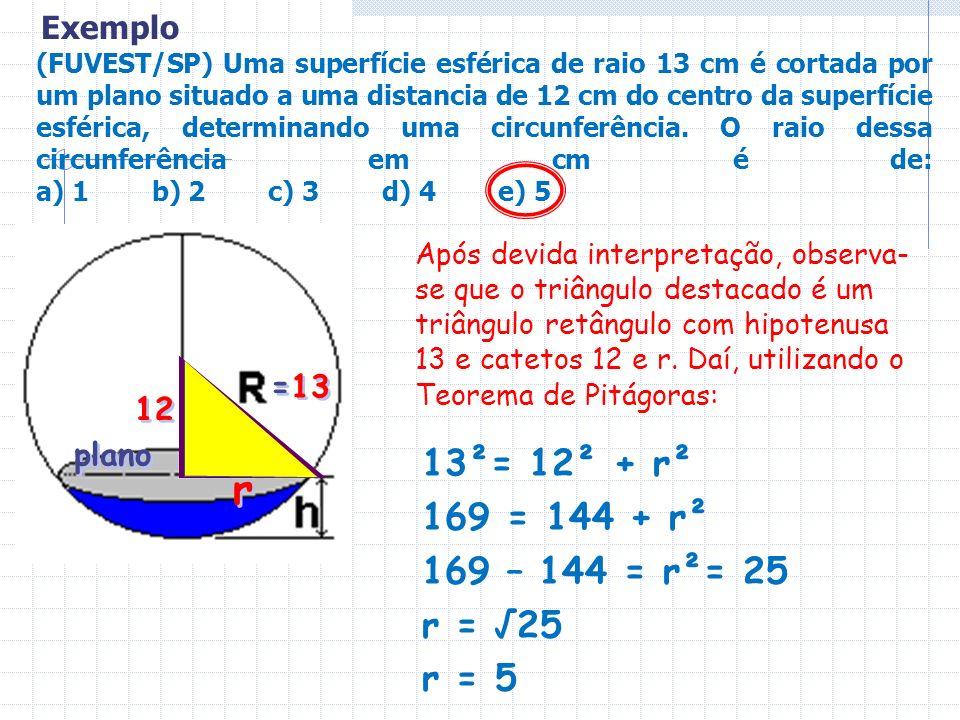 r 13²= 12² + r² 169 = 144 + r² 169 – 144 = r²= 25 r = √25 r = 5