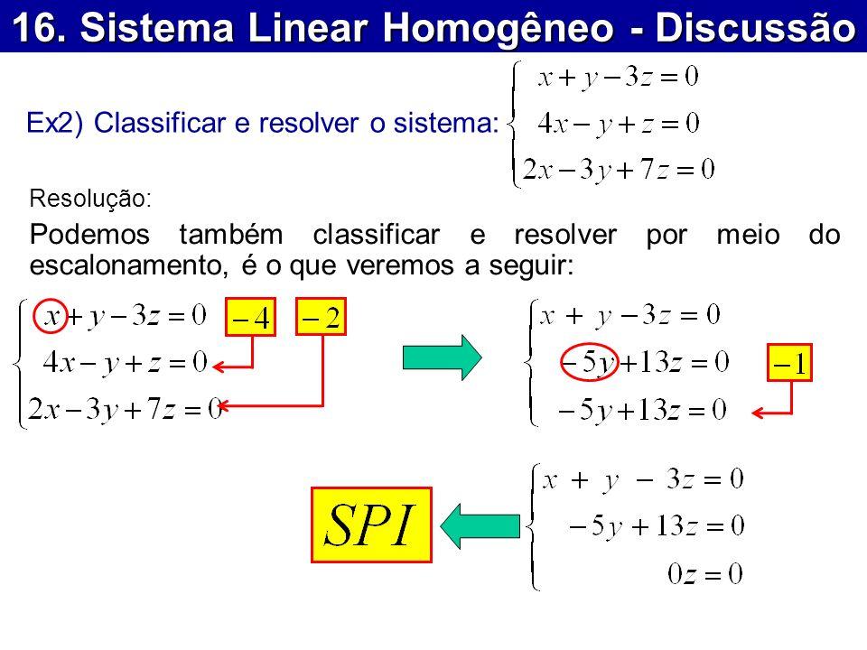16. Sistema Linear Homogêneo - Discussão