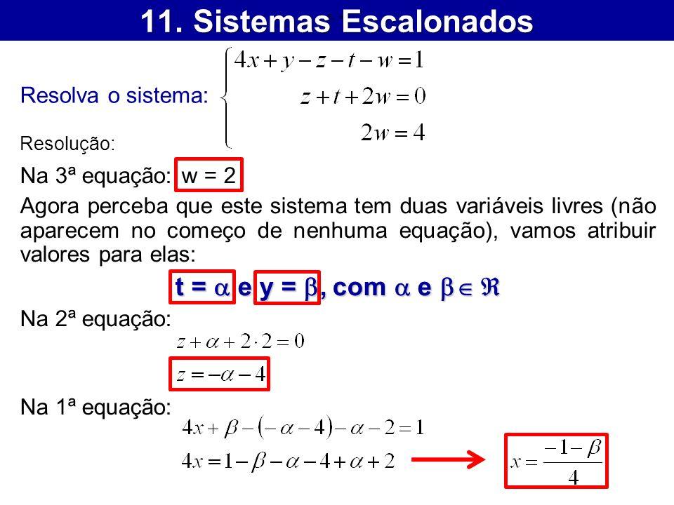11. Sistemas Escalonados t = a e y = b, com a e b 