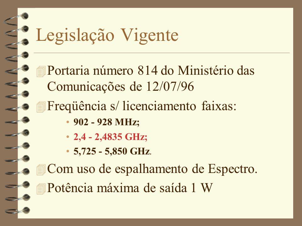 Legislação VigentePortaria número 814 do Ministério das Comunicações de 12/07/96. Freqüência s/ licenciamento faixas:
