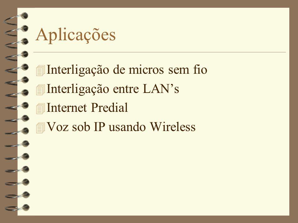Aplicações Interligação de micros sem fio Interligação entre LAN's