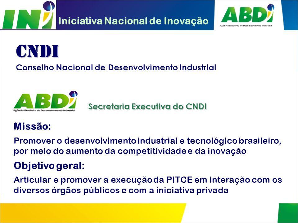 CNDI Iniciativa Nacional de Inovação Missão: Objetivo geral: