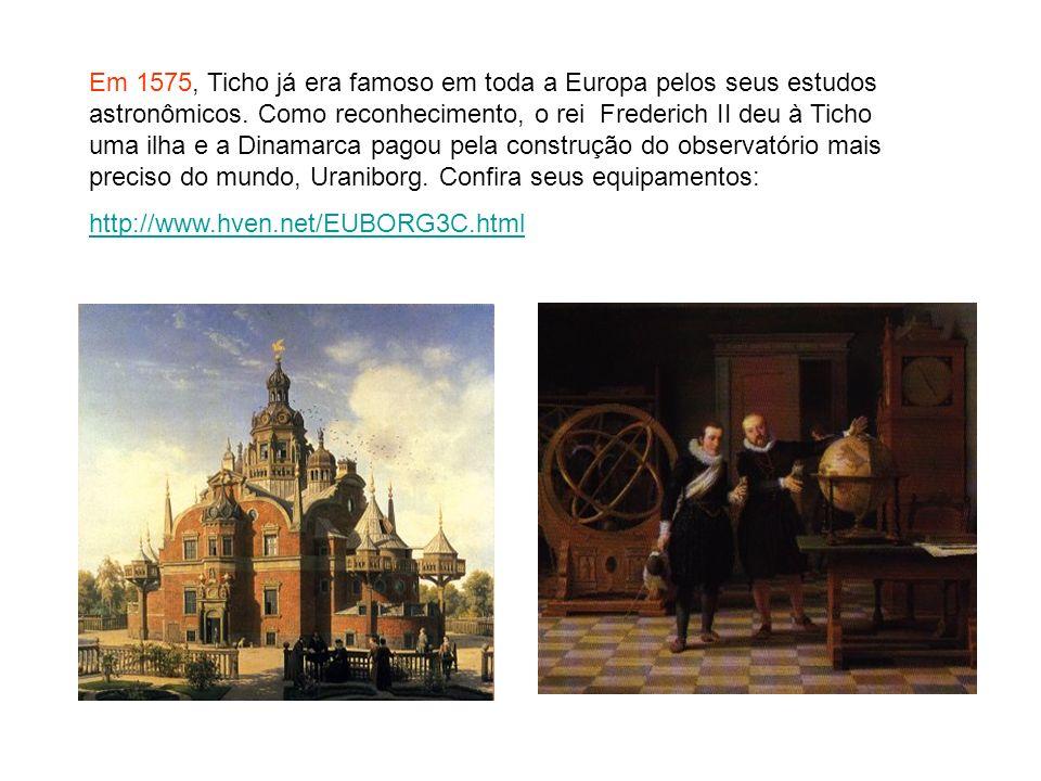 Em 1575, Ticho já era famoso em toda a Europa pelos seus estudos astronômicos. Como reconhecimento, o rei Frederich II deu à Ticho uma ilha e a Dinamarca pagou pela construção do observatório mais preciso do mundo, Uraniborg. Confira seus equipamentos: