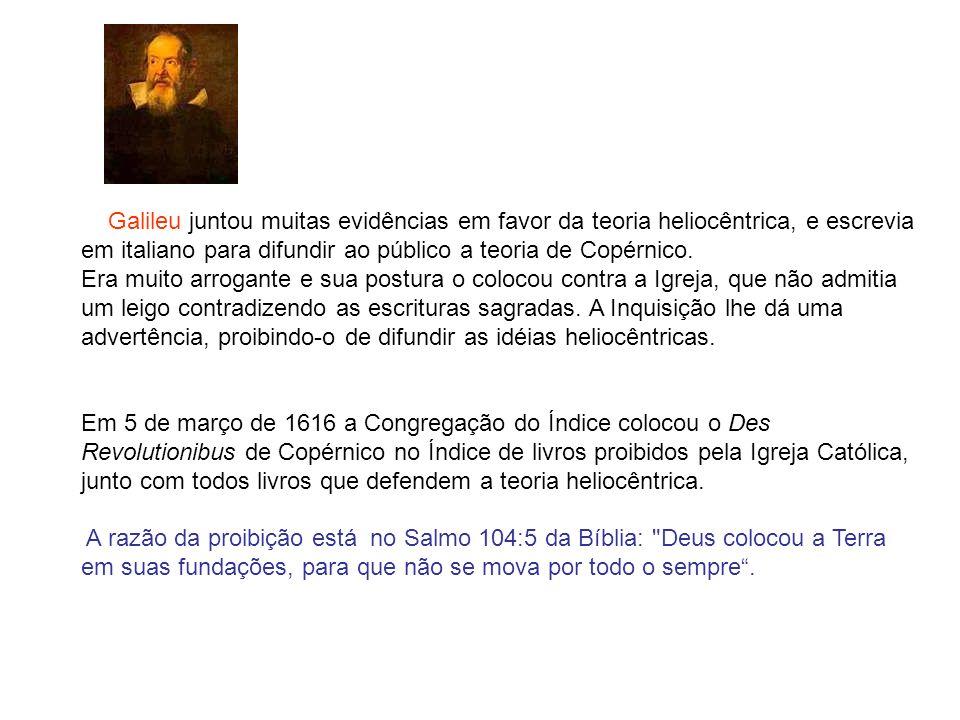 Galileu juntou muitas evidências em favor da teoria heliocêntrica, e escrevia em italiano para difundir ao público a teoria de Copérnico.