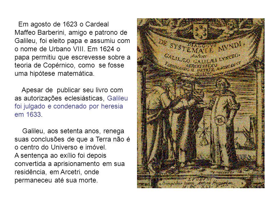 Em agosto de 1623 o Cardeal Maffeo Barberini, amigo e patrono de Galileu, foi eleito papa e assumiu com o nome de Urbano VIII. Em 1624 o papa permitiu que escrevesse sobre a teoria de Copérnico, como se fosse uma hipótese matemática.