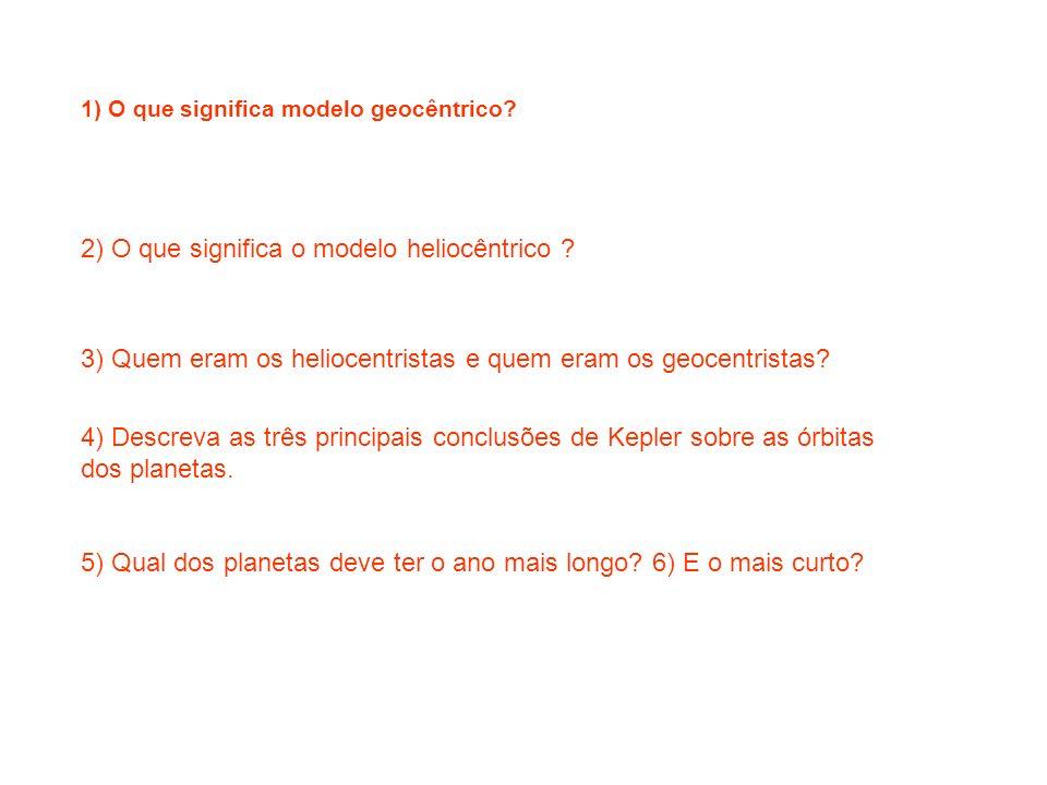 2) O que significa o modelo heliocêntrico