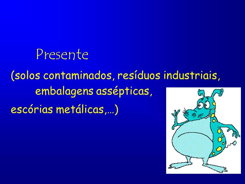 Presente (solos contaminados, resíduos industriais, embalagens assépticas, escórias metálicas,…)