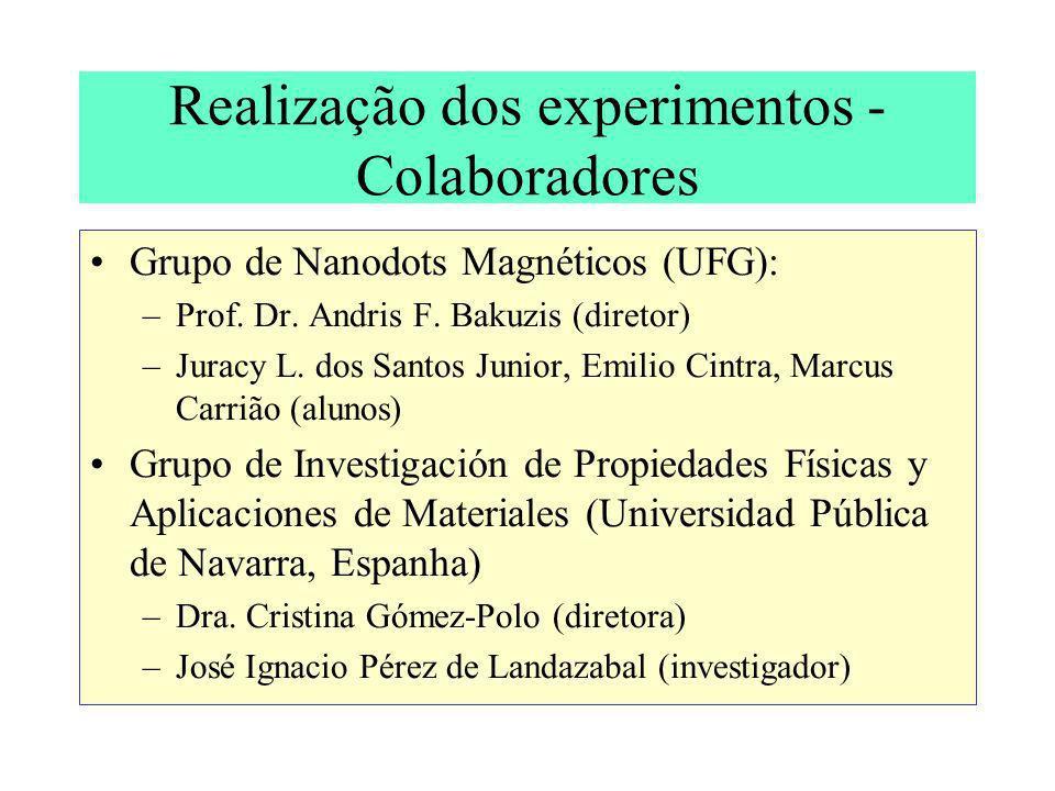 Realização dos experimentos - Colaboradores
