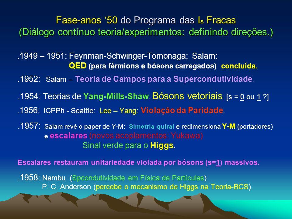Fase-anos '50 do Programa das Is Fracas (Diálogo contínuo teoria/experimentos: definindo direções.)