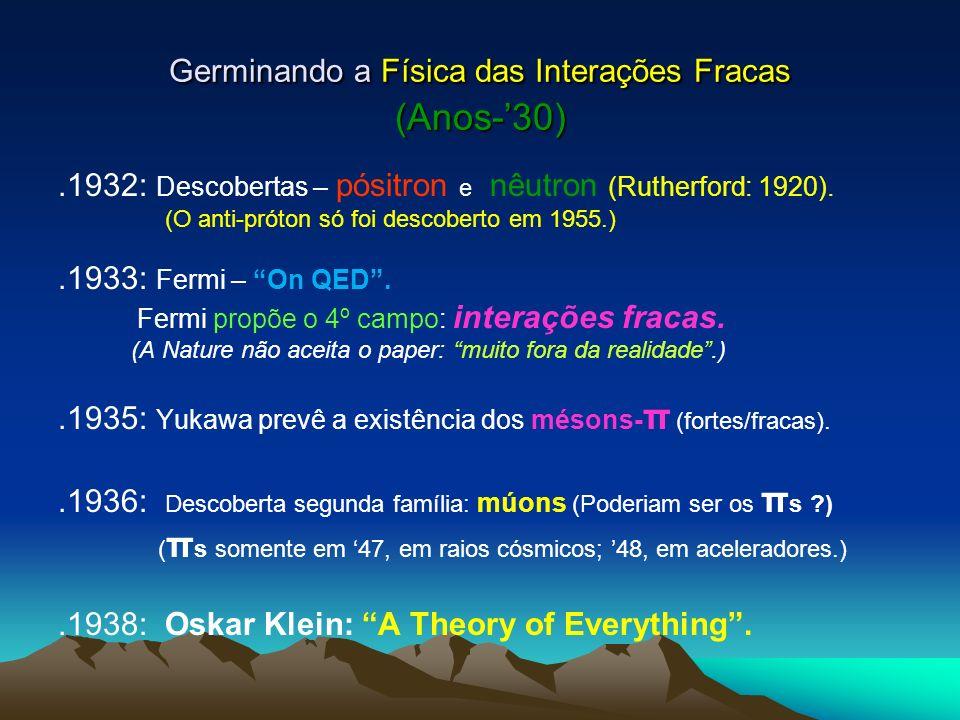 Germinando a Física das Interações Fracas (Anos-'30)