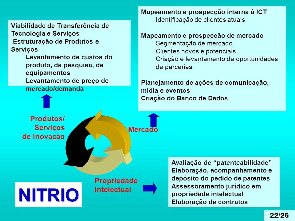 NITRIO Produtos/ Serviços de Inovação Mercado Propriedade Intelectual