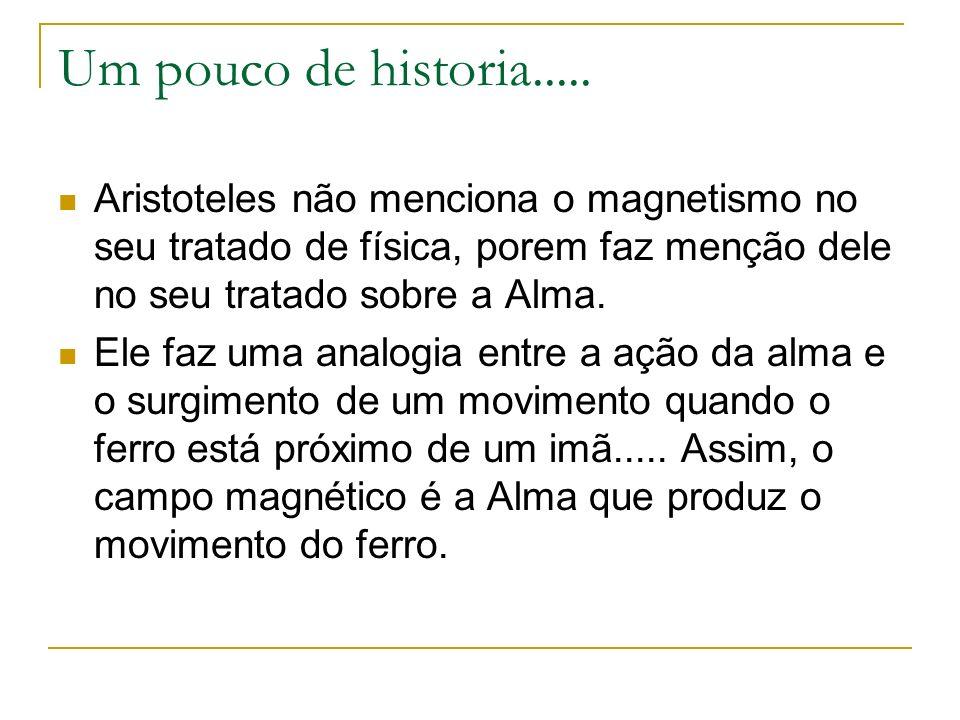 Um pouco de historia.....Aristoteles não menciona o magnetismo no seu tratado de física, porem faz menção dele no seu tratado sobre a Alma.