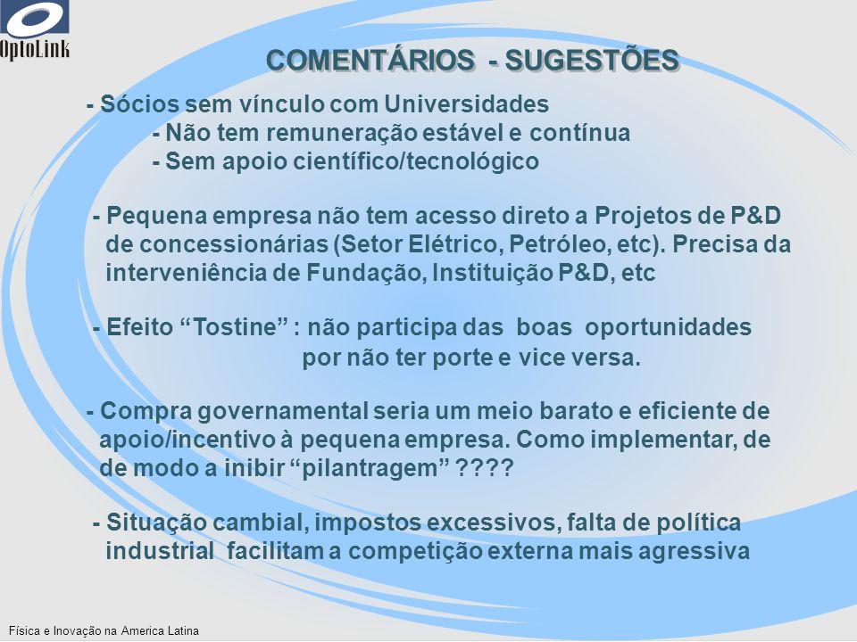 COMENTÁRIOS - SUGESTÕES