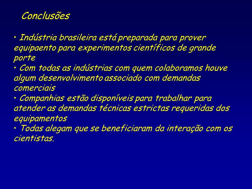 Conclusões Indústria brasileira está preparada para prover equipaento para experimentos científicos de grande porte.