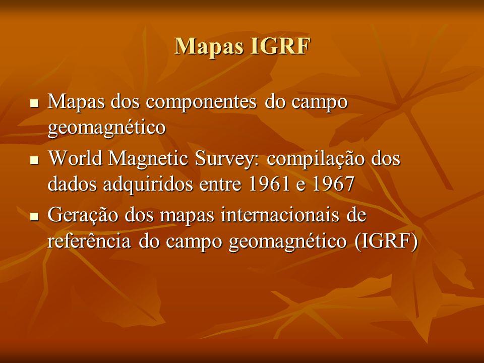 Mapas IGRF Mapas dos componentes do campo geomagnético
