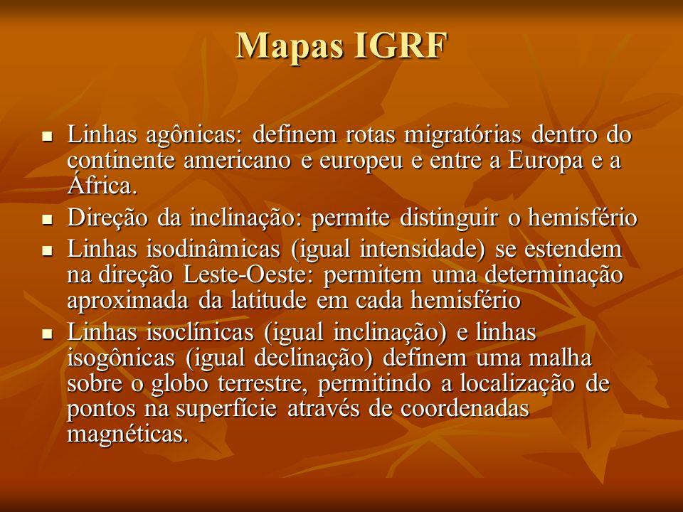 Mapas IGRF Linhas agônicas: definem rotas migratórias dentro do continente americano e europeu e entre a Europa e a África.