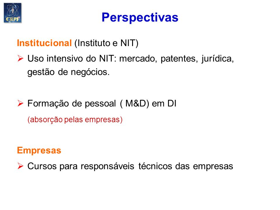 Perspectivas Institucional (Instituto e NIT)