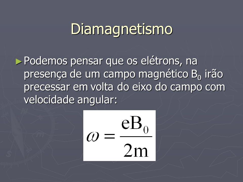 Diamagnetismo Podemos pensar que os elétrons, na presença de um campo magnético B0 irão precessar em volta do eixo do campo com velocidade angular: