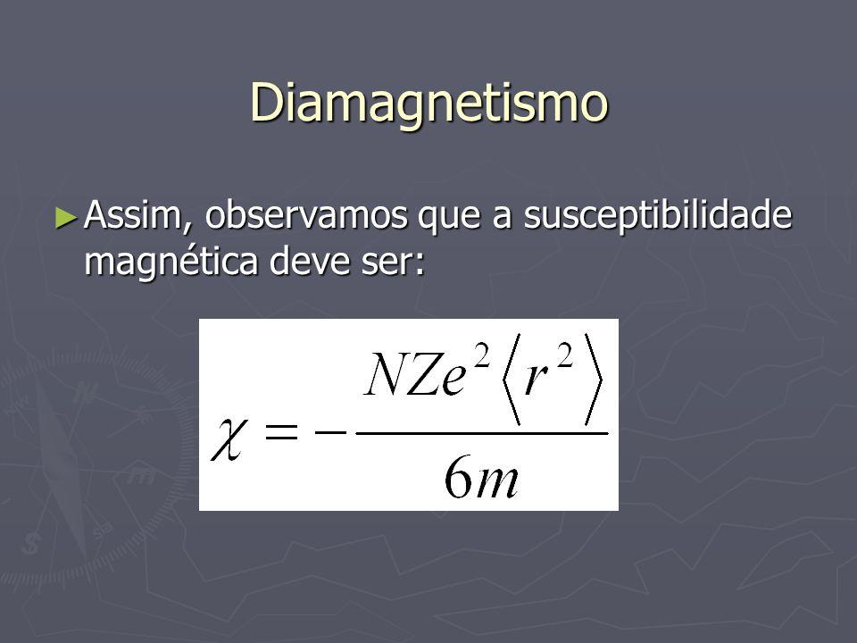 Diamagnetismo Assim, observamos que a susceptibilidade magnética deve ser: