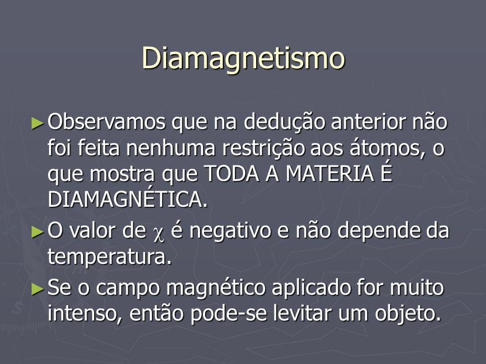 DiamagnetismoObservamos que na dedução anterior não foi feita nenhuma restrição aos átomos, o que mostra que TODA A MATERIA É DIAMAGNÉTICA.