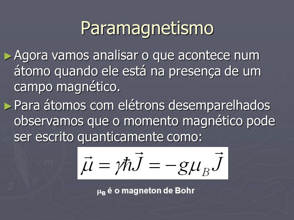 ParamagnetismoAgora vamos analisar o que acontece num átomo quando ele está na presença de um campo magnético.