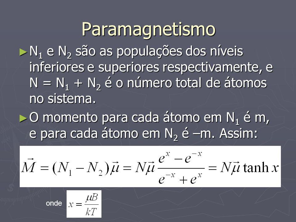 Paramagnetismo N1 e N2 são as populações dos níveis inferiores e superiores respectivamente, e N = N1 + N2 é o número total de átomos no sistema.