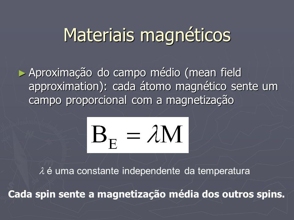 Materiais magnéticosAproximação do campo médio (mean field approximation): cada átomo magnético sente um campo proporcional com a magnetização.